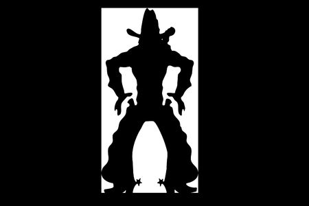 western saddle: Illustration of a silhouette of the cowboy which costs in doors