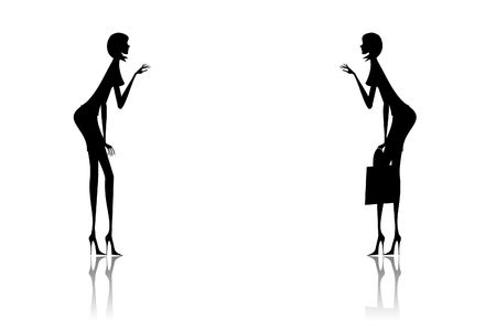 glamur: Illustration of silhouettes of two girls helping each other