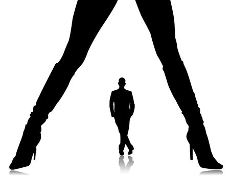 Illustration, silhouette of female feet in boots on a white background illustration