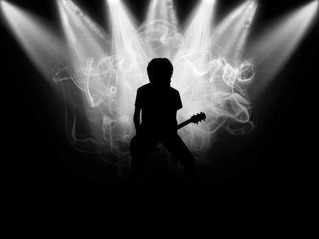 Black silhouette of the musician which plays on a scene Stock Photo - 5788844