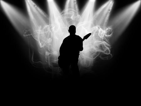 Black silhouette of the musician which plays on a scene Stock Photo - 5788838