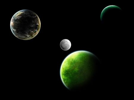 Illustration of different planets in a free space on a black background illustration
