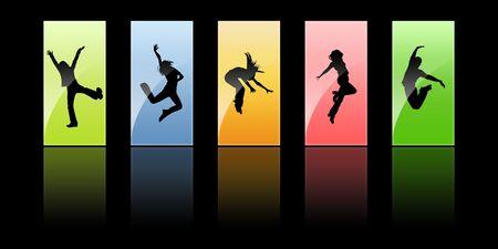 personas saltando: Siluetas negras, la juventud sobre un fondo diferente