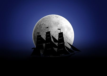 Black silhouette of a ship which float under the moon Stock Photo - 5799350