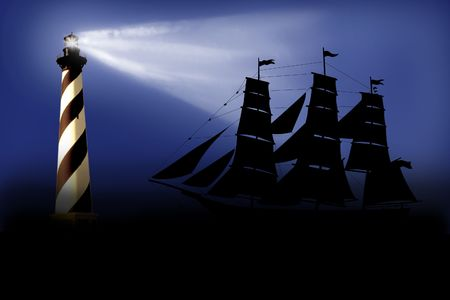 Illustration of a beacon which costs near a ship silhouette Stock Illustration - 5799386