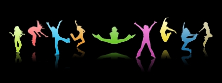 children group: Colour silhouettes, youth on a black background