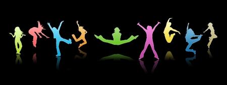 ni�os danzando: Siluetas de color, los j�venes sobre un fondo negro
