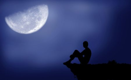 man in the moon: Black silhouette of a boy which sits under the moon Stock Photo