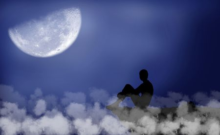 Black silhouette of a boy which sits under the moon photo
