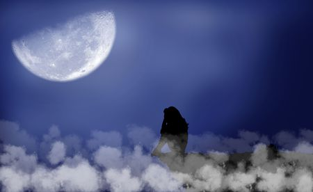 Black silhouette of a girl which sits under the moon photo