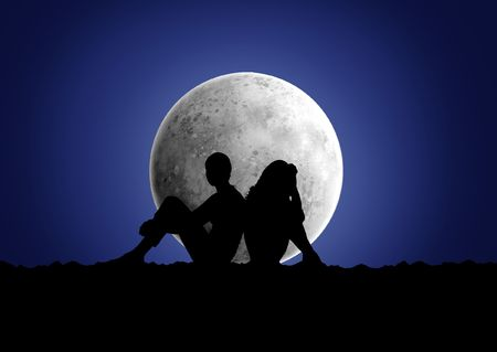 Black silhouette of a boy and girl which sits under the moon photo