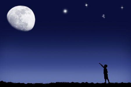The boy specifies in the bright moon