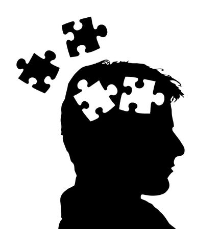 brainteaser: The illustration of a head divided into different parts Stock Photo