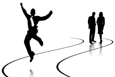businessman jumping: Illustration of the businessman jumping on empty road Stock Photo
