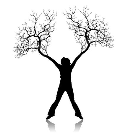 The person with roots from feet and hands photo