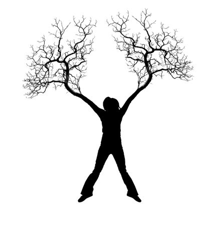 interrelated: The person with roots from feet and hands