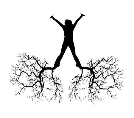 arbol raices: La persona con ra�ces de pies y manos Foto de archivo