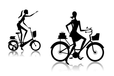glamur: The woman going on a bicycle with purchases from shop