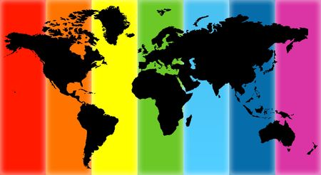 Illustration of a card of the world on different colour background Stock Illustration - 5802947