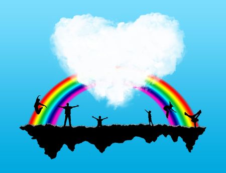 Island with a rainbow and happiness people on it Stock Photo - 5802944