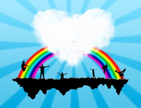 Island with a rainbow and happiness people on it Stock Photo - 5802946