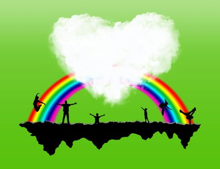 Island with a rainbow and happiness people on it Stock Photo - 5807099