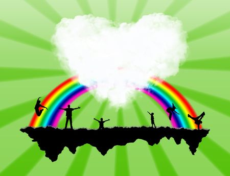 Island with a rainbow and happiness people on it Stock Photo - 5807101