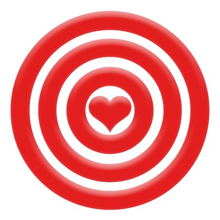 Illustration of red heart in the centre darts illustration