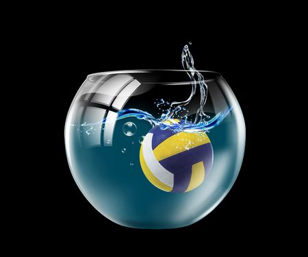 underwater sport: Illustration of an aquarium with the ball floating in it Stock Photo