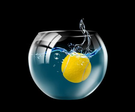 Illustration of an aquarium with the ball floating in it Фото со стока