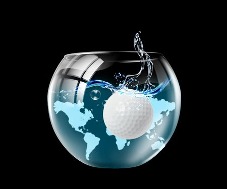 contribution: Illustration of an aquarium with the ball floating in it Stock Photo