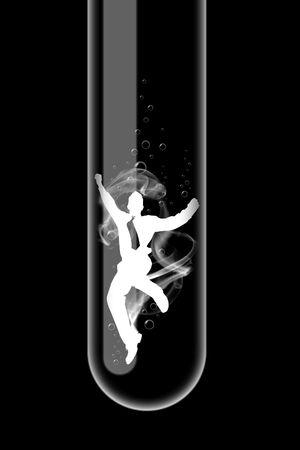 Illustration of a glass test tube with businessman inside it illustration