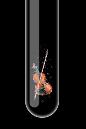 Illustration of a glass test tube with violin inside it Stock Illustration - 5807082
