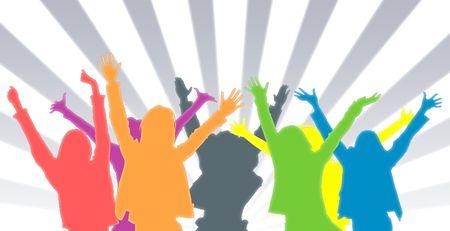młodzież: Ilustracja przedstawiająca grupy osób o różnych kolorach