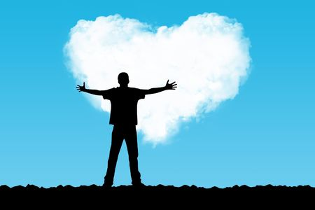 romanticist: The person stretches hands to a cloud in the form of heart Stock Photo
