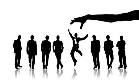 chosen: Illustration of group of people against one jumping Stock Photo