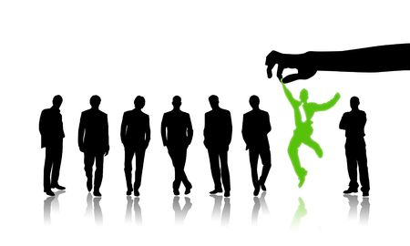 contender: Illustration of group of people against one jumping Stock Photo