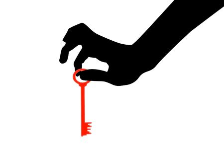 licence: The illustration of a silhouette of a hand which holds a key Stock Photo