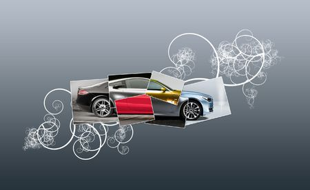 repuestos de carros: Ilustraci�n de un coche recogidos desde muchas partes