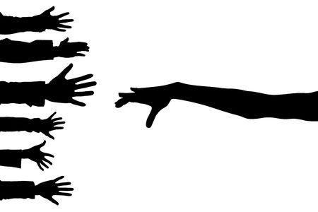 hands lifted: Illustration of different hands lifted upwards, as a background