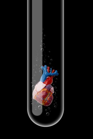 Illustration of a glass test tube with heart inside it Stock Illustration - 5875036