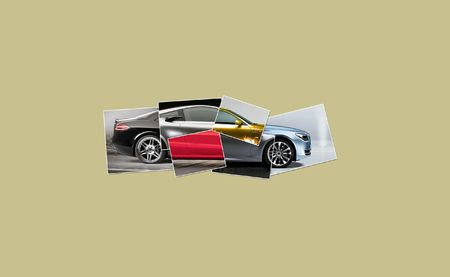 Illustration of one car collected from many parts illustration