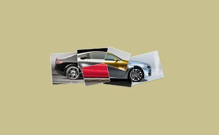 piezas coche: Ilustraci�n de un coche recogidos desde muchas partes