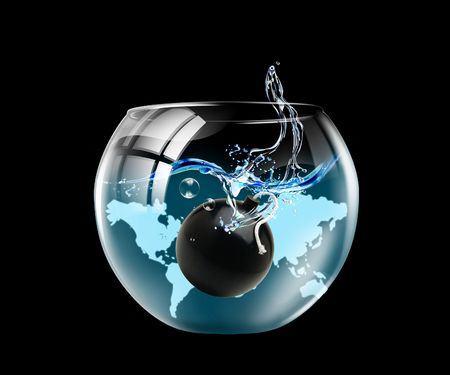 Illustration of an aquarium with a bomb on a black background illustration