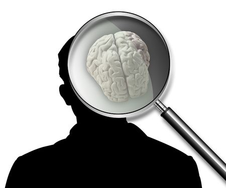 see a doctor: Illustration of part of a body, of a brain, on a silhouette of the man Stock Photo
