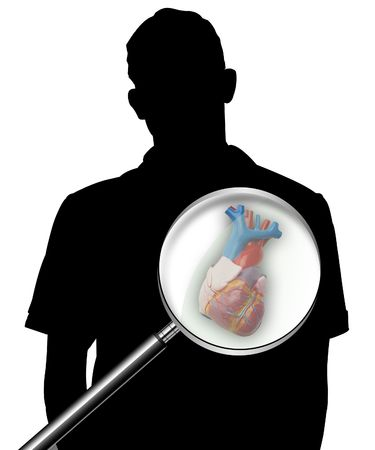 Illustration of part of a body, of a heart, on a silhouette of the man illustration