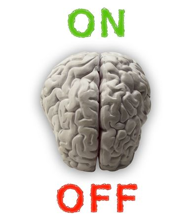 brainy: Illustration of a brain which can be switched on and off
