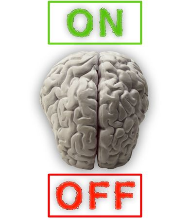 switched: Illustration of a brain which can be switched on and off