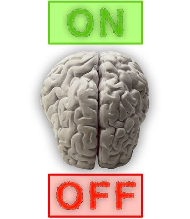 crinkles: Illustration of a brain which can be switched on and off