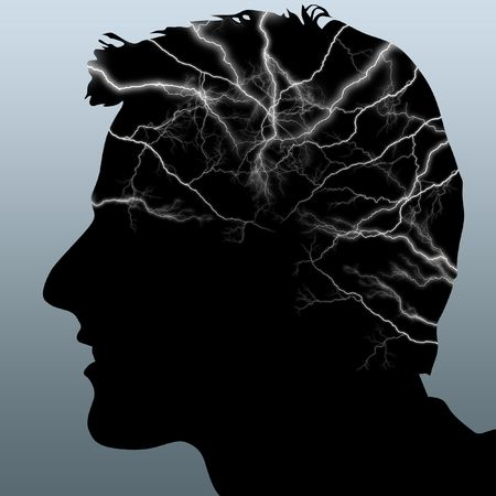 lightnings: Illustration of a silhouette of a head with lightnings in it Stock Photo